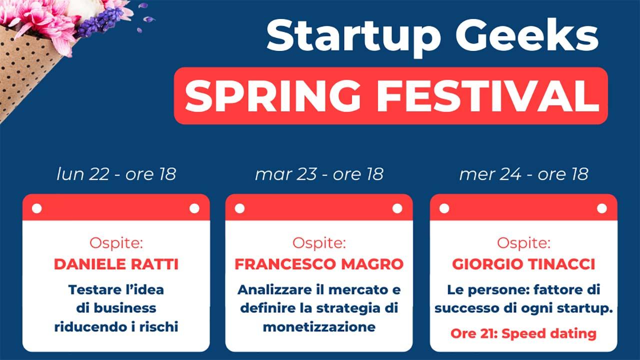 Startup Geeks Spring Festival, 6 giorni di formazione gratuita sui temi delle startup e dell'imprenditoria